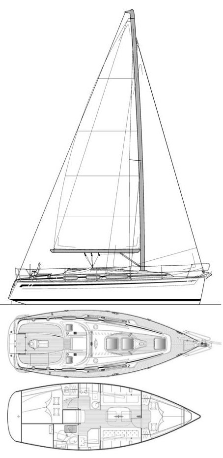 Bavaria 31 Cruiser drawing on sailboatdata.com