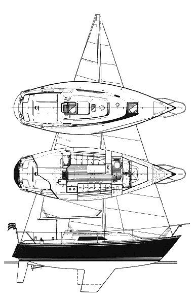 C&C 29 MkII drawing on sailboatdata.com