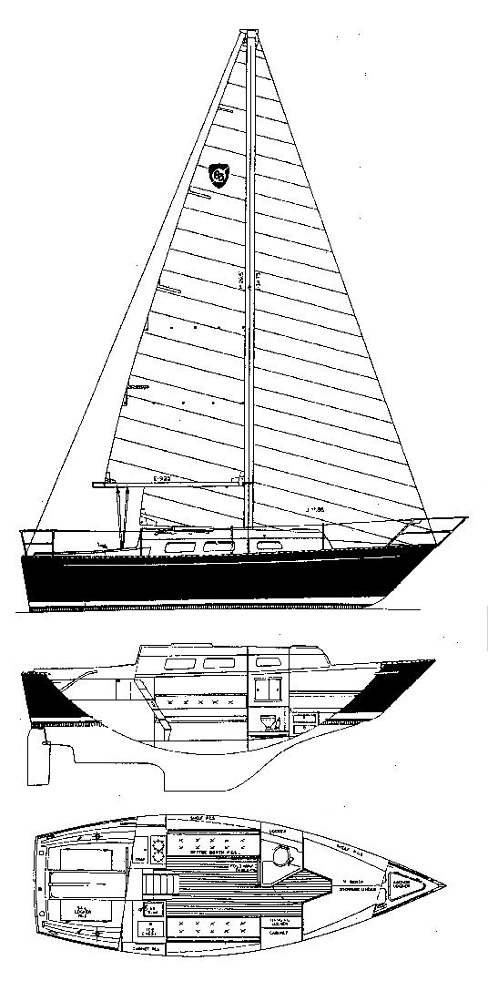 Columbia 8.3 drawing on sailboatdata.com