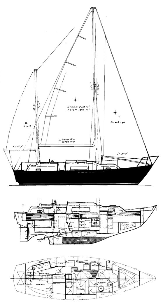Irwin 32.5 drawing on sailboatdata.com