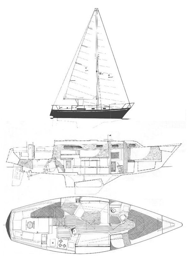 Irwin 34 Citation drawing on sailboatdata.com