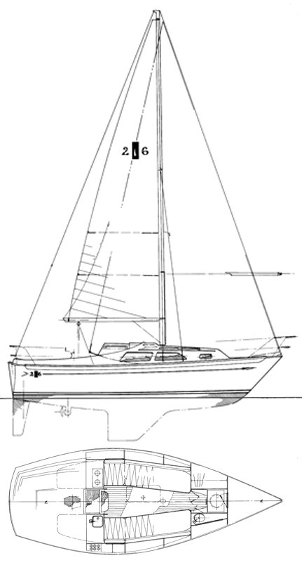 Islander 26 drawing on sailboatdata.com