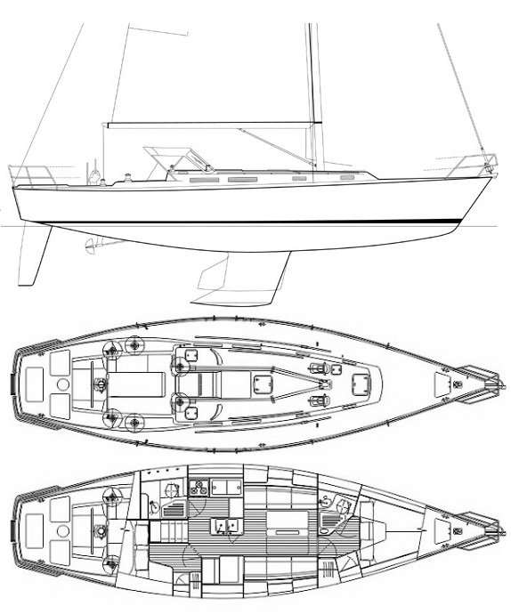 J-42 drawing on sailboatdata.com