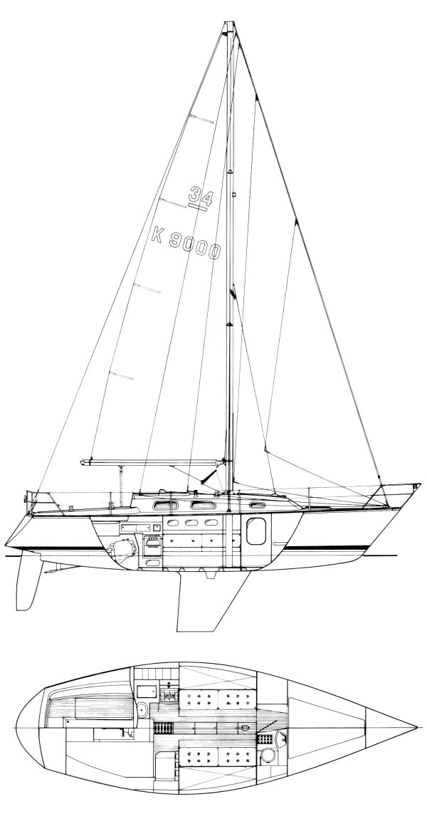 OOD 34 drawing on sailboatdata.com