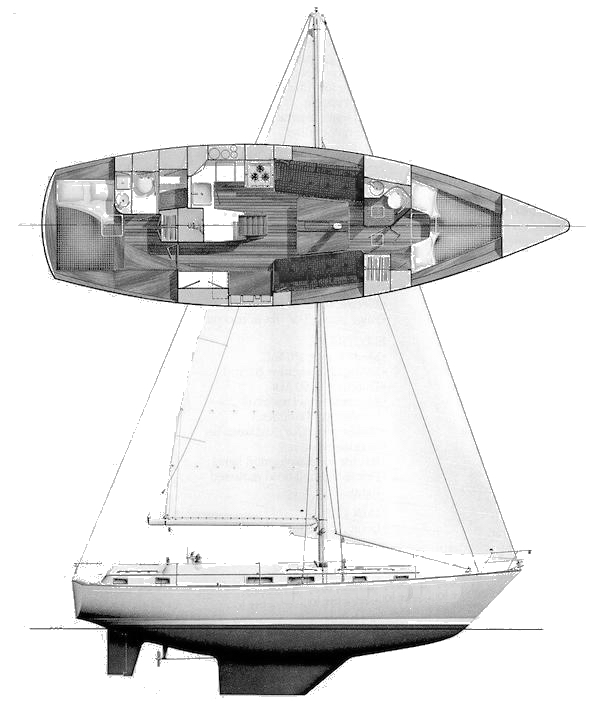 Pearson 385 drawing on sailboatdata.com