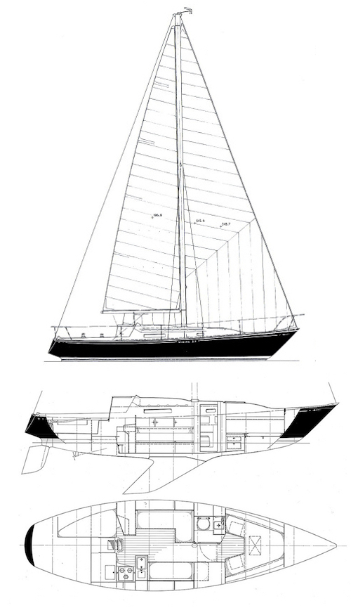 Viking 33 drawing on sailboatdata.com
