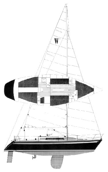 Wasa 34 drawing on sailboatdata.com