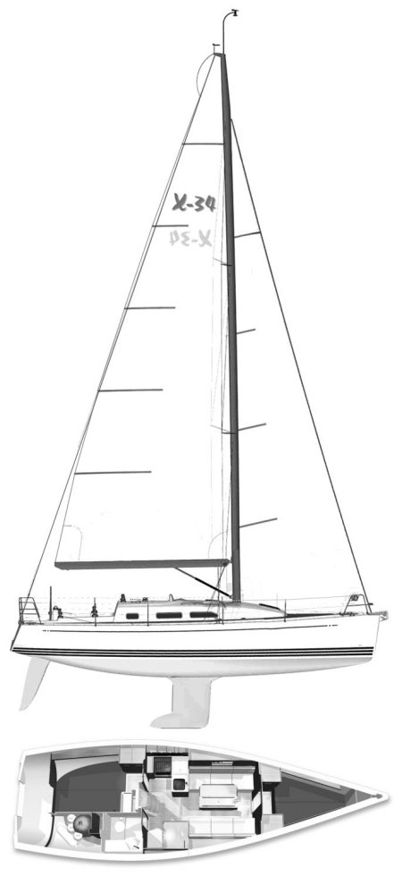 X-34 drawing on sailboatdata.com
