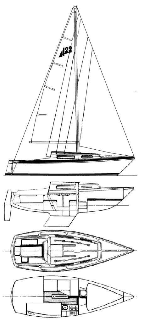 Abbott 22 drawing on sailboatdata.com