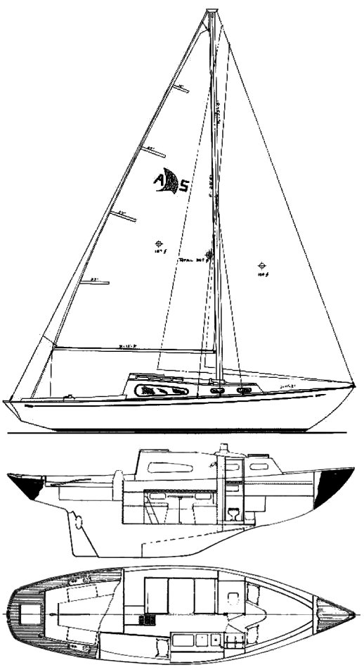 Acadian 30 Sloop drawing on sailboatdata.com