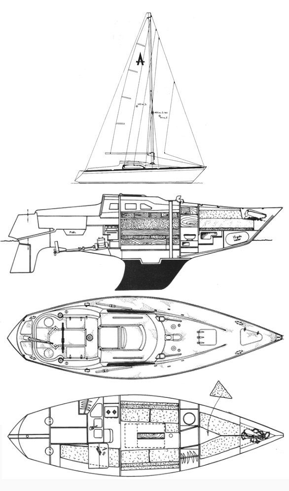 Achilles 9M drawing on sailboatdata.com