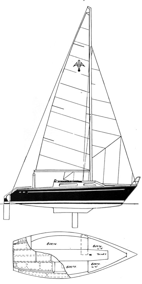 Adams 21 drawing on sailboatdata.com