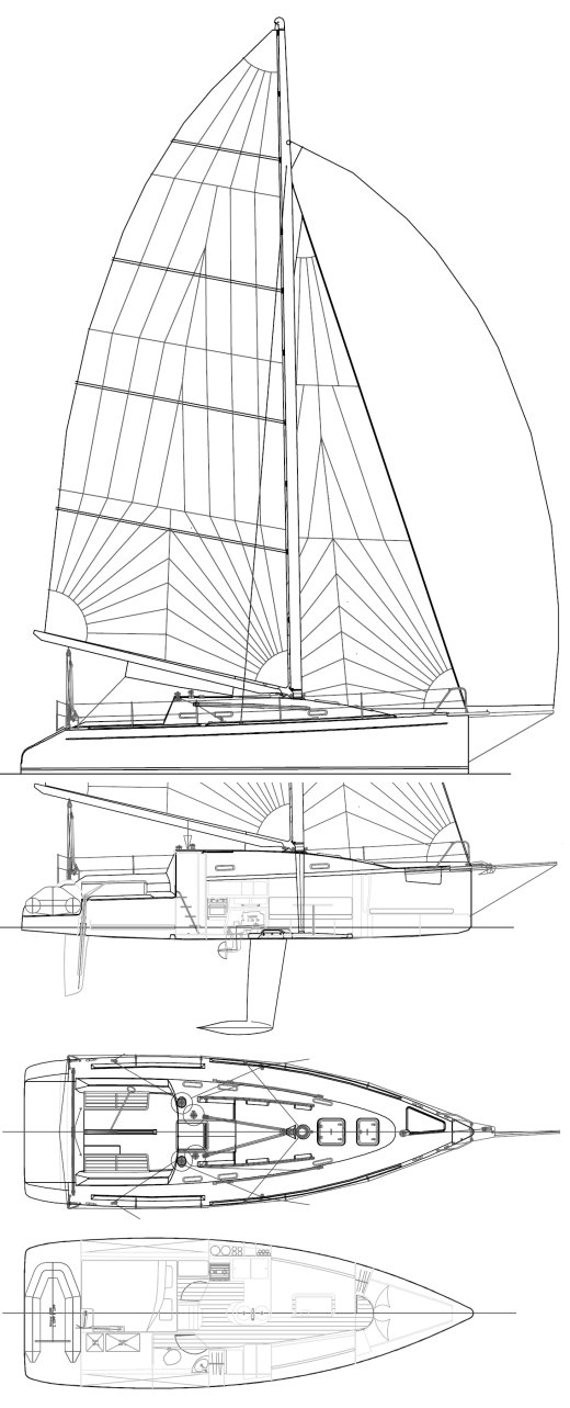 Aerodyne 35 drawing on sailboatdata.com