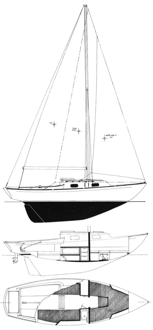 Alberg 22 drawing on sailboatdata.com