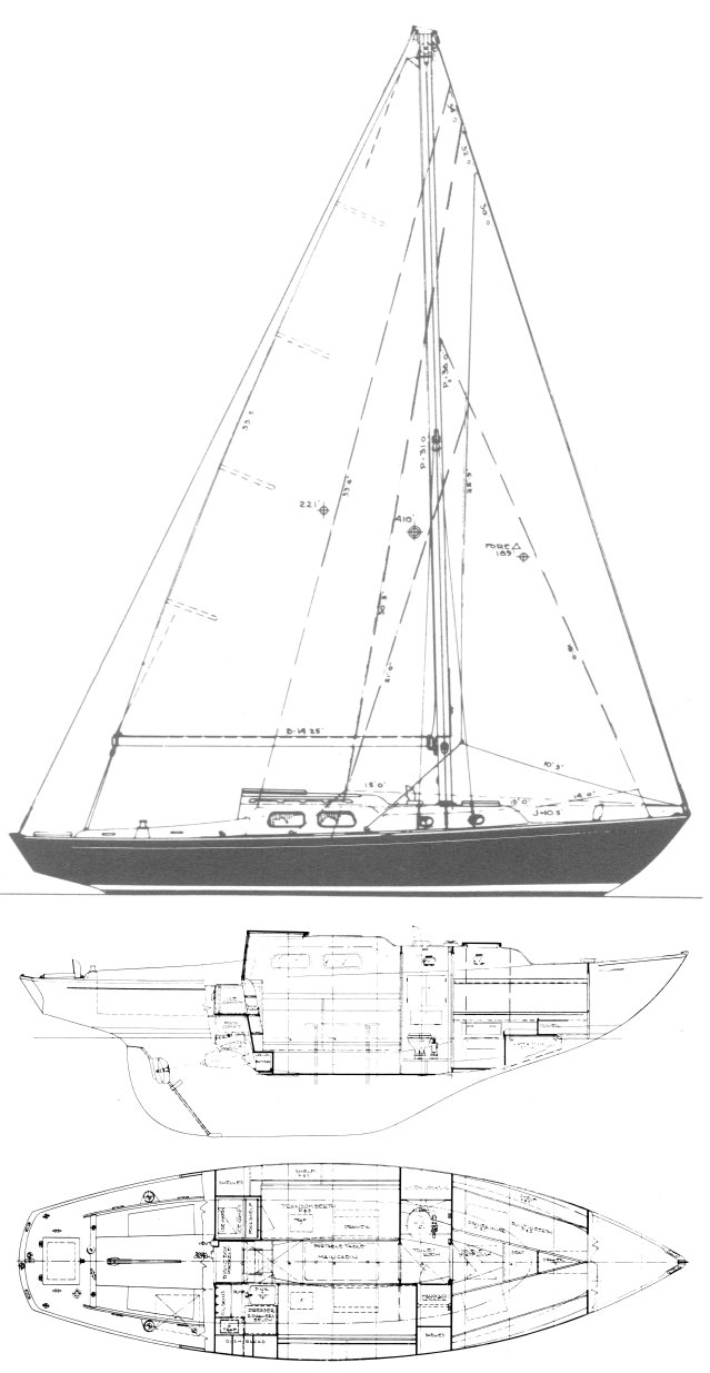 Alberg 30 drawing on sailboatdata.com