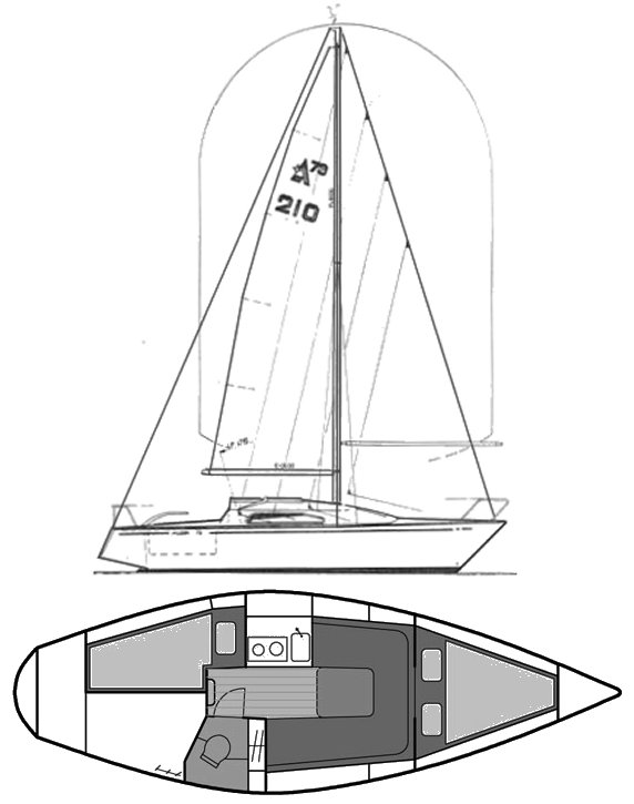 Albin 79 drawing on sailboatdata.com