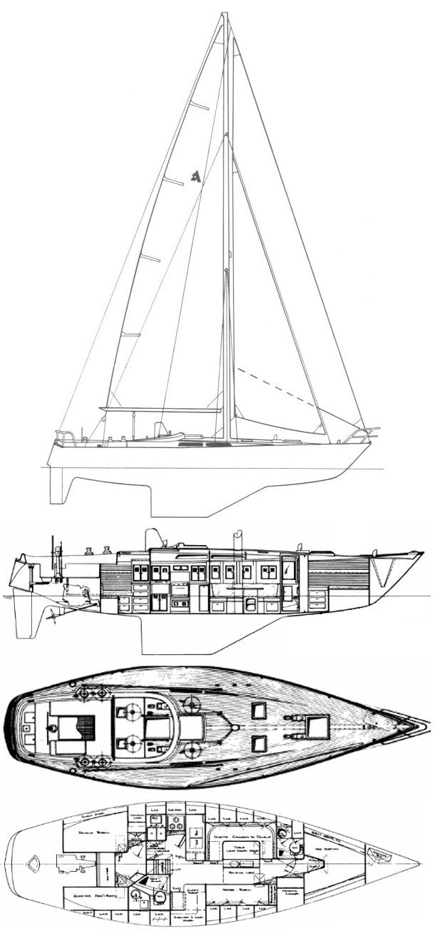 Nimbus 42 (Albin Nimbus) drawing  on sailboatdata.com
