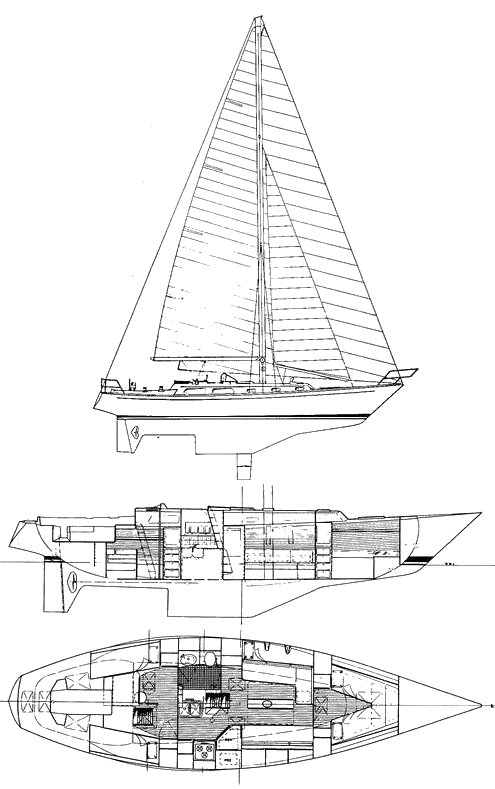Alden 44 drawing on sailboatdata.com