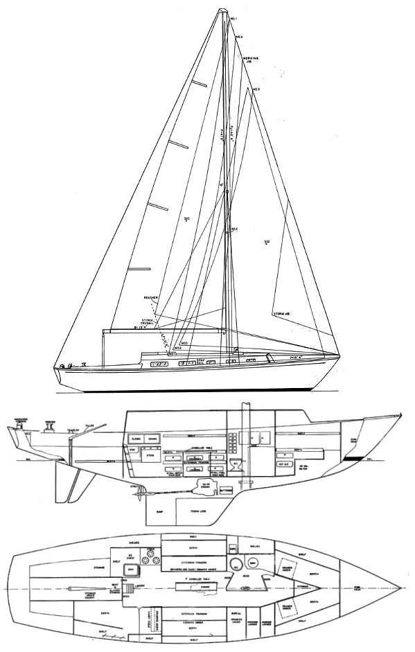 Alerion 38 drawing on sailboatdata.com