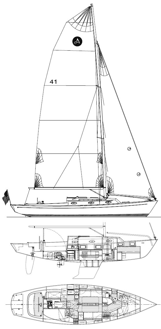 Alerion 41 drawing on sailboatdata.com