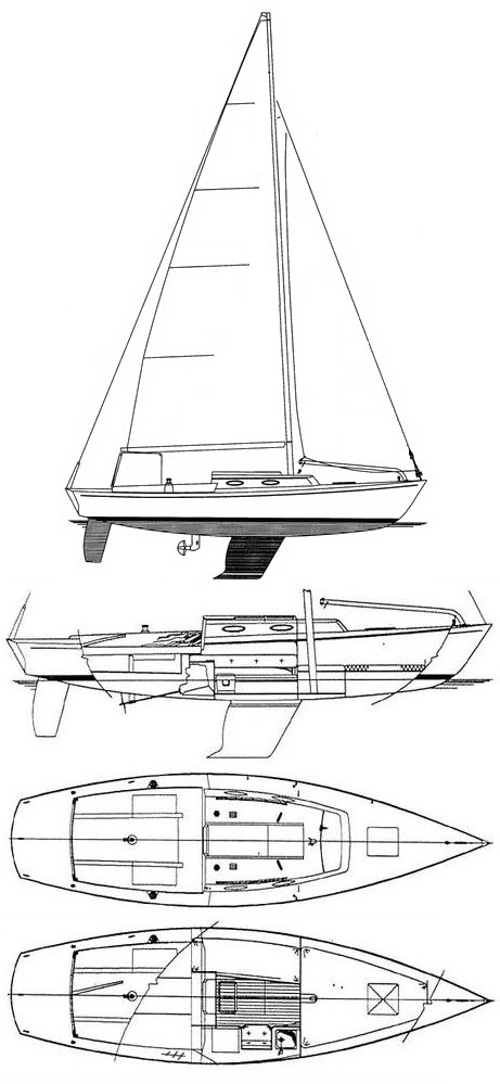 Alerion Express 28 drawing on sailboatdata.com