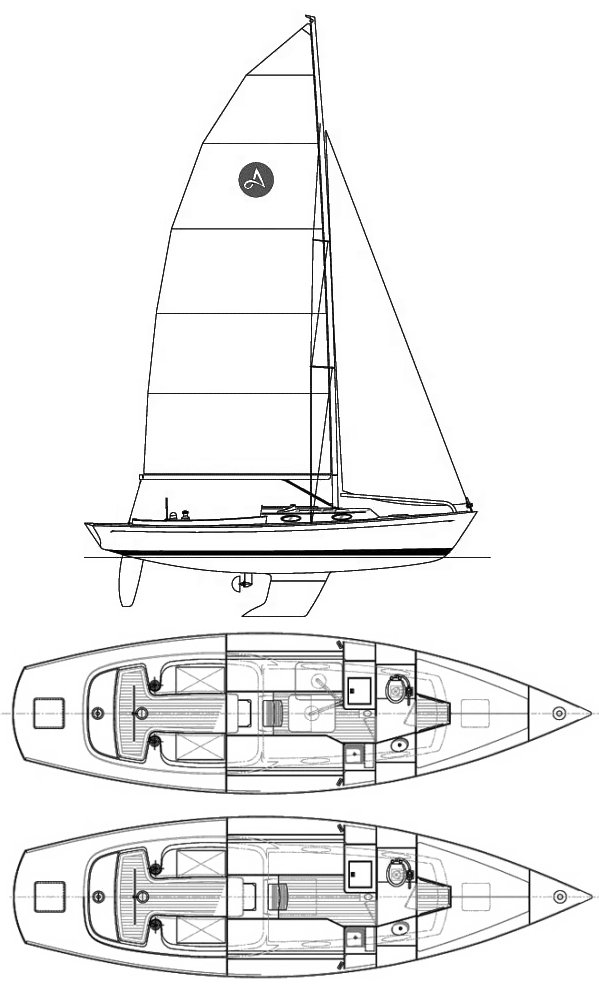 Alerion Express 33 drawing on sailboatdata.com
