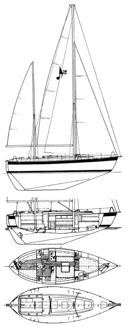 Allegro 39 drawing on sailboatdata.com