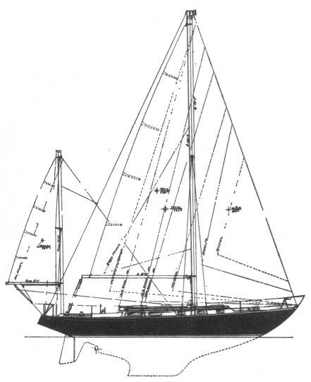 Allied 39 drawing on sailboatdata.com