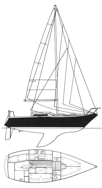 Aloa 29 drawing on sailboatdata.com