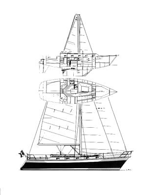 Amazon 37 drawing on sailboatdata.com