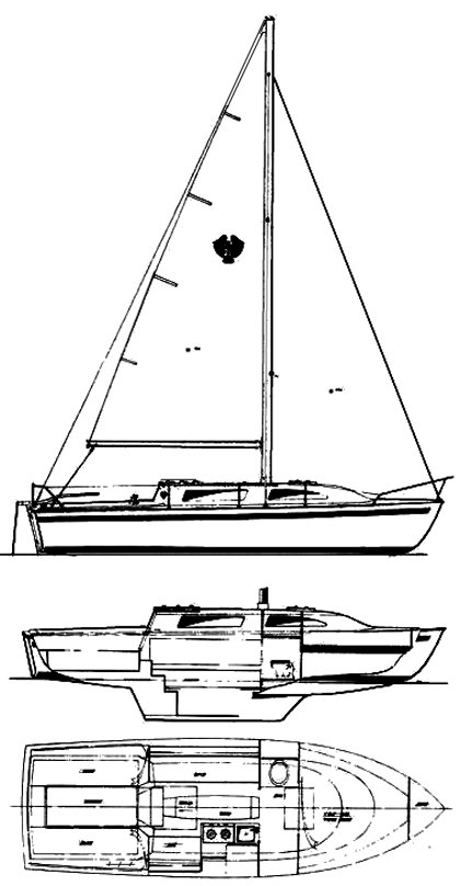 American 26 drawing on sailboatdata.com