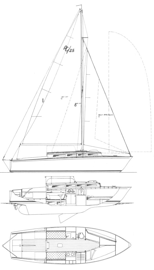 Amphibicon 25 drawing on sailboatdata.com
