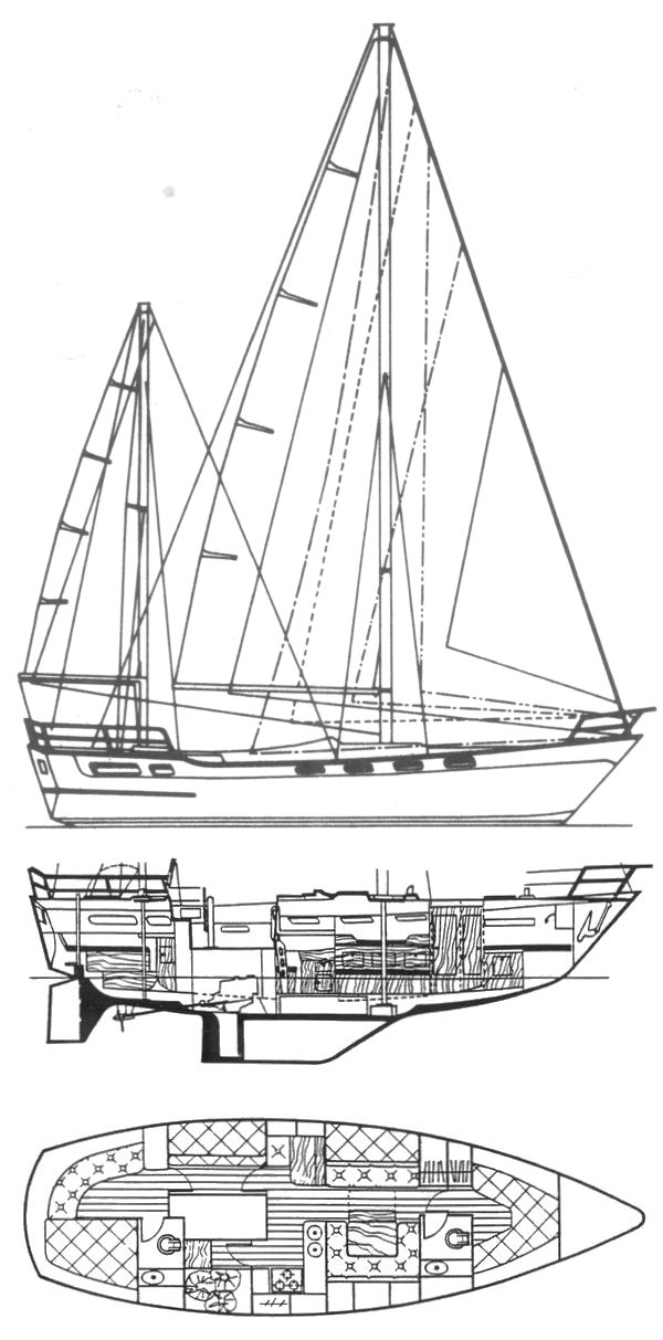Amphitrite 43 drawing on sailboatdata.com