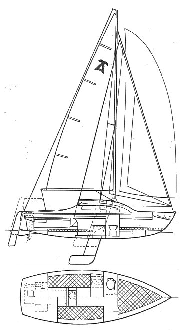 Anderson 22 drawing on sailboatdata.com
