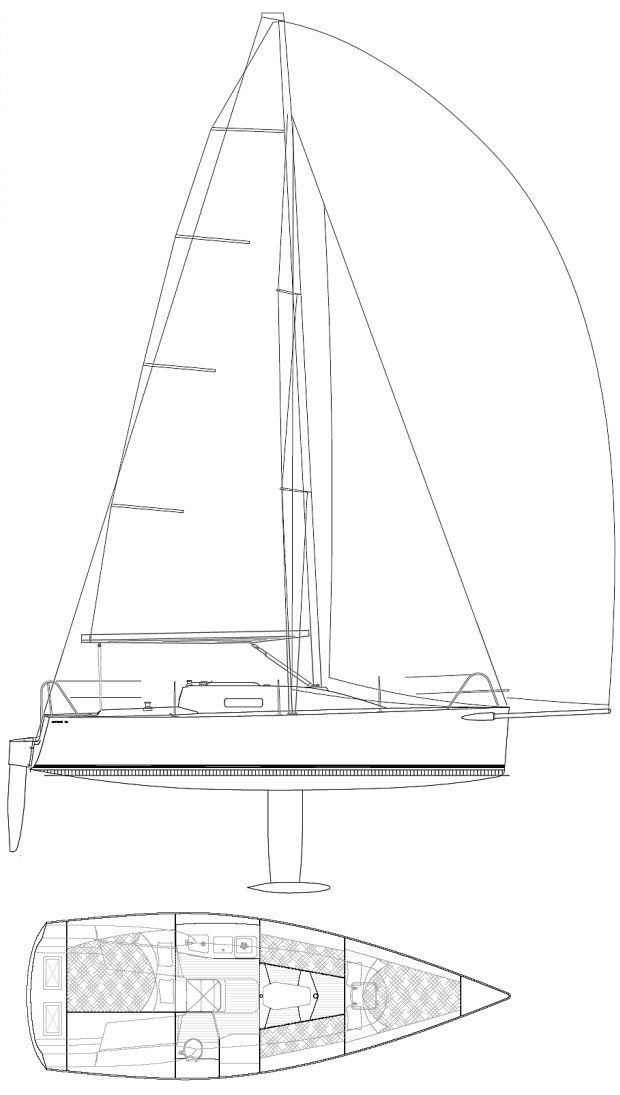 Andrews 28 drawing on sailboatdata.com