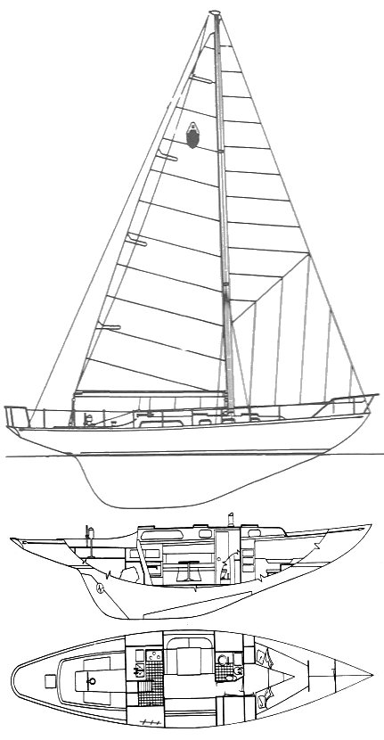Annapolis 44 drawing on sailboatdata.com