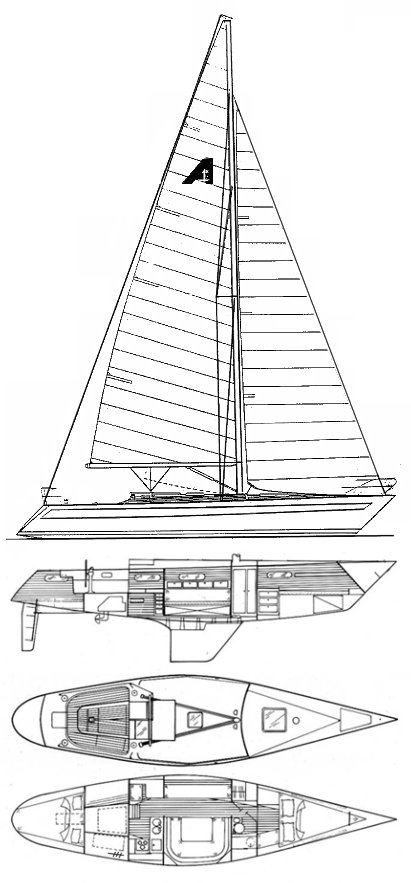 Ansa 42 drawing on sailboatdata.com