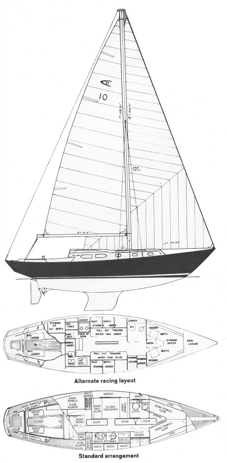 Apache 37 drawing on sailboatdata.com