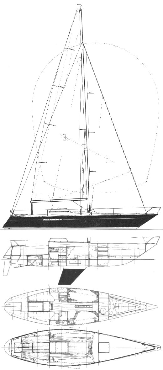 Aphrodite 101 drawing on sailboatdata.com