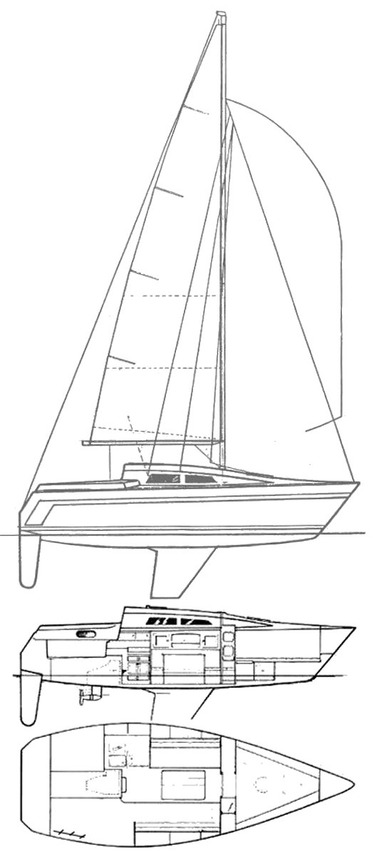 Aphrodite 25 drawing on sailboatdata.com
