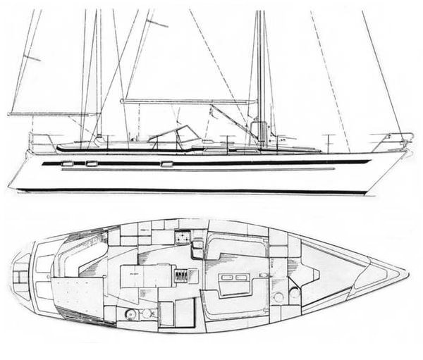 Aphrodite 42 drawing on sailboatdata.com
