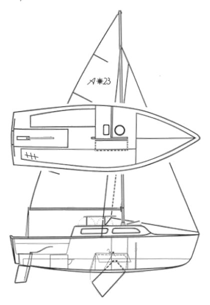 Aquarius 23 drawing on sailboatdata.com