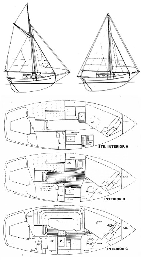 Aquarius Pilot Cutter drawing on sailboatdata.com