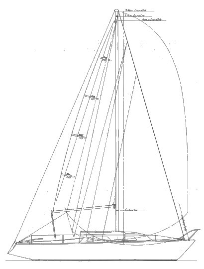 Arabesque 26 drawing on sailboatdata.com