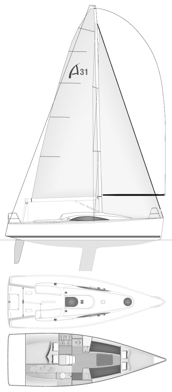 Archambault 31 drawing on sailboatdata.com