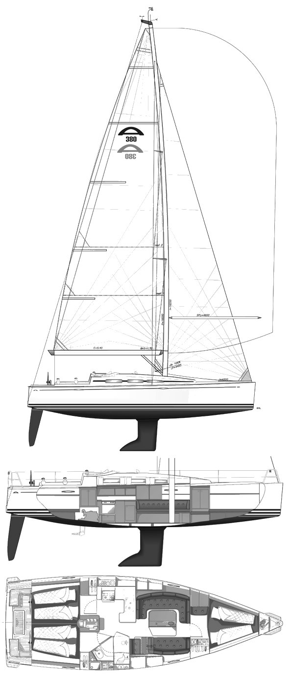 Arcona 380 drawing on sailboatdata.com