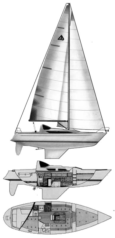 Artina 33 drawing on sailboatdata.com