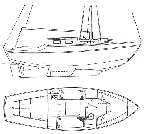 Athena 26 drawing on sailboatdata.com
