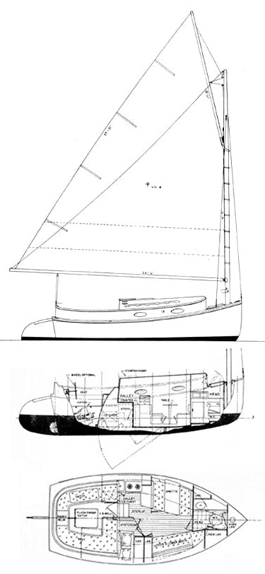 Atlantic City Cat Boat drawing on sailboatdata.com