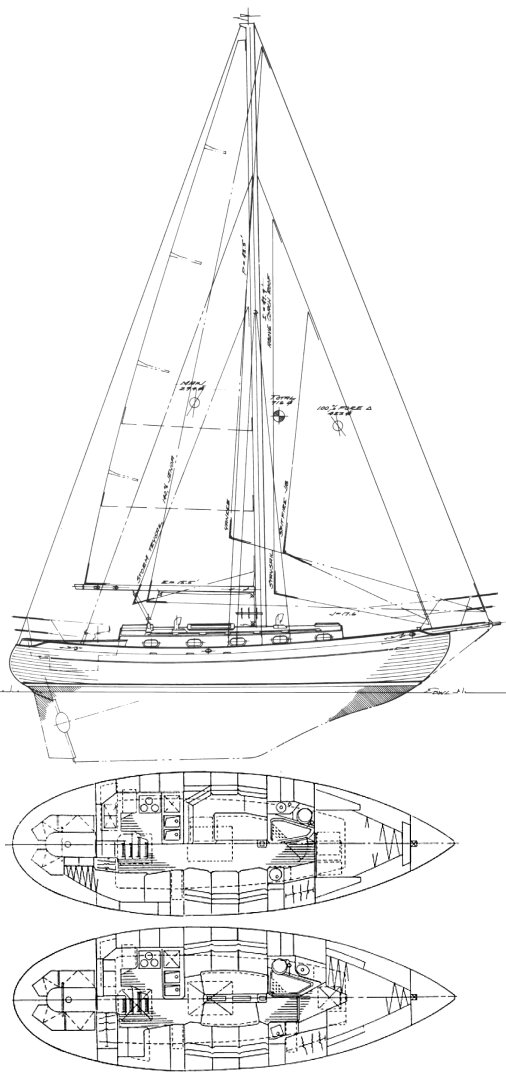 Baba 35 drawing on sailboatdata.com